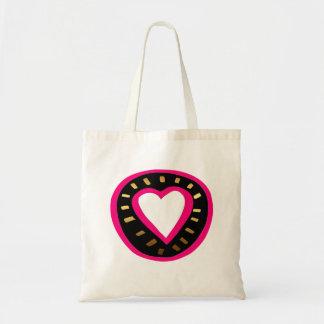 Dia dos namorados - coração cor-de-rosa moderno -3 sacola tote budget