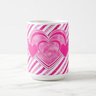 Dia dos namorados - corações cor-de-rosa bonito caneca de café