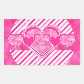 Dia dos namorados - corações cor-de-rosa do adesivo retangular