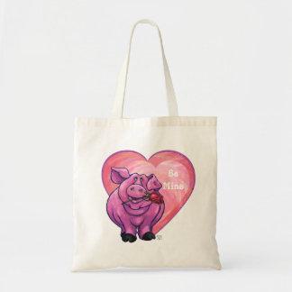Dia dos namorados do porco bolsas de lona