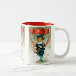 Dia dos namorados do Victorian do vintage, menino Caneca De Café Em Dois Tons