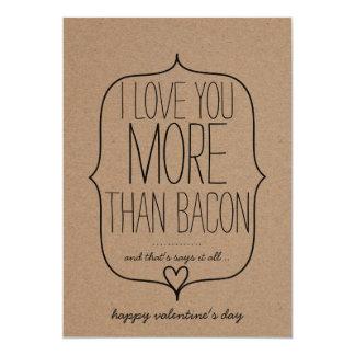 Dia dos namorados engraçado do bacon do coração convite 12.7 x 17.78cm