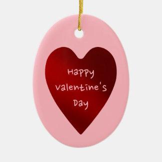 Dia dos namorados vermelho e cor-de-rosa coração ornamento de cerâmica oval