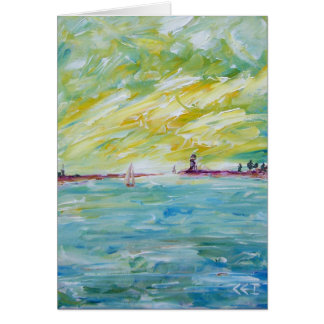 Dia ensolarado no mar cartão comemorativo