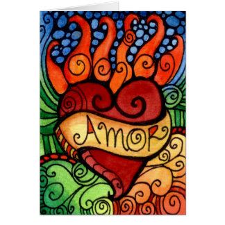 Dia flamejante do coração de Amor do design de Cartão Comemorativo
