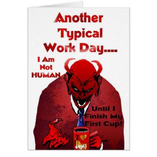 Diabo da cafeína cartão comemorativo