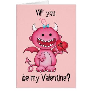 Diabo da menina dos namorados cartão