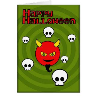Diabo e crânios cartão comemorativo
