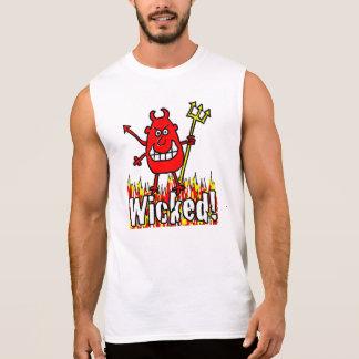 Diabo mau com design das chamas camisa sem manga