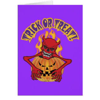 Diabo Skul do Dia das Bruxas Cartão