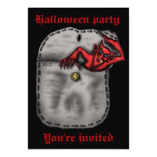 Diabo vermelho engraçado no convite do Dia das