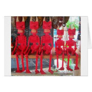 Diabos mexicanos pequenos vermelhos alegres que cartão comemorativo