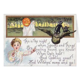 Diabrete da coruja do fantasma da abóbora da cartão