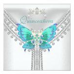 Diamante branco azul 2 da borboleta da cerceta de convite quadrado 13.35 x 13.35cm