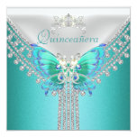 Diamante branco azul da borboleta da cerceta de convite quadrado 13.35 x 13.35cm