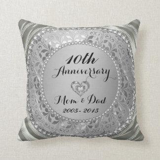 Diamantes & aniversário de casamento da prata 10o almofada