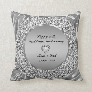 Diamantes & aniversário de casamento da prata 25o almofada