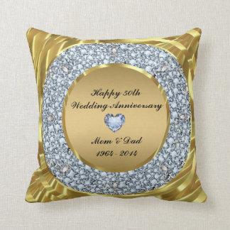 Diamantes & aniversário de casamento do ouro 50th almofada