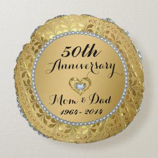 Diamantes & aniversário de casamento do ouro 50th almofada redonda