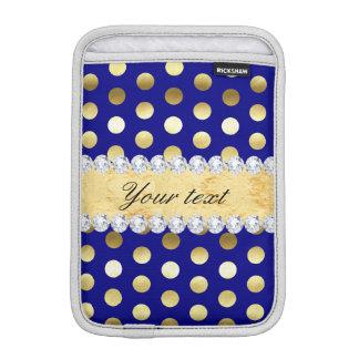 Diamantes das bolinhas da folha de ouro do marinho luvas de iPad mini