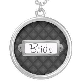 Diamantes de veludo (carvão vegetal) (casamento) colar banhado a prata