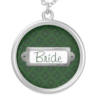 Diamantes de veludo (verde) (casamento) colar banhado a prata