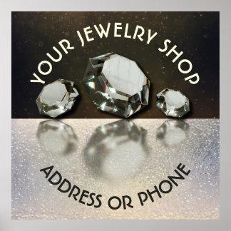 Diamantes do joalheiro três da loja de jóia na poster