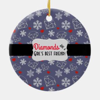 Diamantes e flocos de neve de pedra preciosa do ornamento de cerâmica