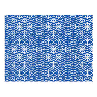 Diamantes medievais do damasco, azuis cobaltos cartão postal