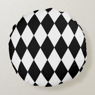 Diamantes preto e branco almofada redonda