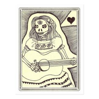 Diâmetro de Los Muertos Menina com guitarra Cartão Postal