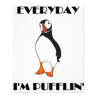 Diário eu sou pássaro do papagaio-do-mar de Puffli Panfleto Personalizados