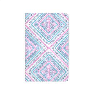 Diário Teste padrão tribal asteca azul cor-de-rosa bonito