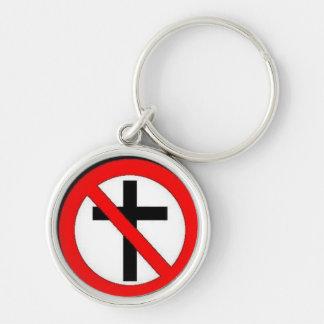 Diga não à cristandade chaveiro redondo na cor prata