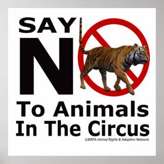 Diga não aos animais no poster do circo pelo NEPA