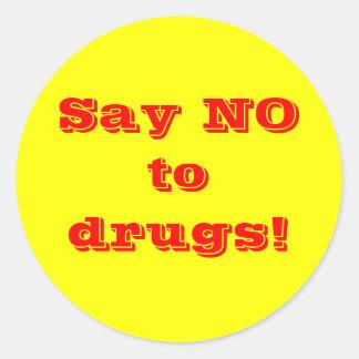 Diga não às drogas - etiqueta adesivo
