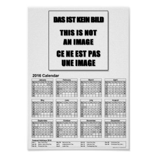 DinA4 a2016-calendar-USA-landscape-year-at-a-glan Poster
