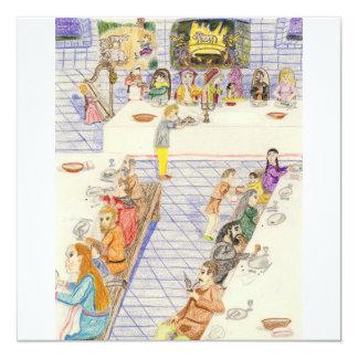 Dinnertime no castelo convite quadrado 13.35 x 13.35cm
