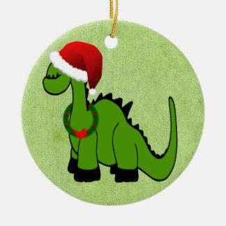 Dinossauro do Natal Ornamento De Cerâmica Redondo