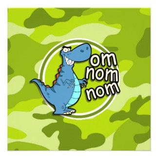 Dinossauro engraçado camo verde-claro camuflagem convites
