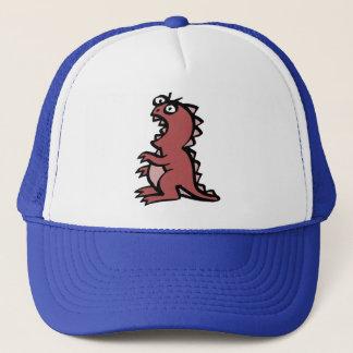 Dinossauro vermelho bonito & irritado boné