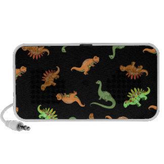 Dinossauros bonitos no fundo preto caixinhas de som