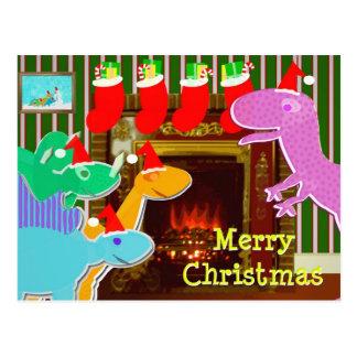 Dinossauros bonitos pelo cartão do Natal da Cartão Postal
