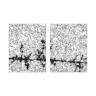 Diptych do tributário do Batik em preto e branco Impressão Em Tela Canvas