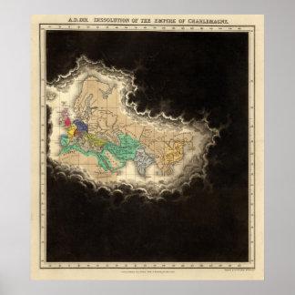 Dissolução do império do ANÚNCIO de Charlemagne 91 Pôster