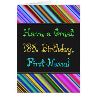 Divertimento, 18o cartão de aniversário colorido,