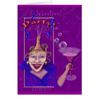 Divertimento & convite de festas roxo festivo cartao