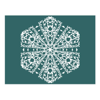 Divertimento da neve do inverno do floco de neve cartão postal