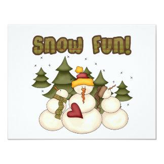 Divertimento da neve dois camisetas e presentes convite 10.79 x 13.97cm