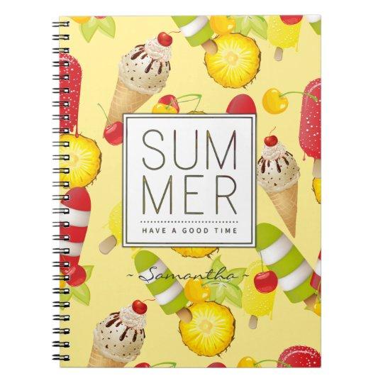 Divertimento das frutas e do gelado do verão cadernos espirais